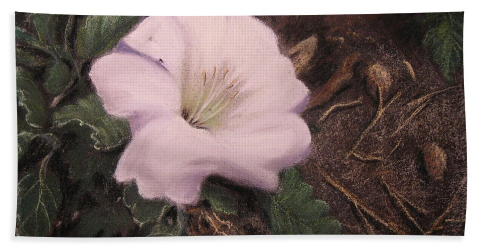 Datura Desert California Flowers Lily Nature Hand Towel featuring the pastel Datura Desert Lily by Brenda Salamone