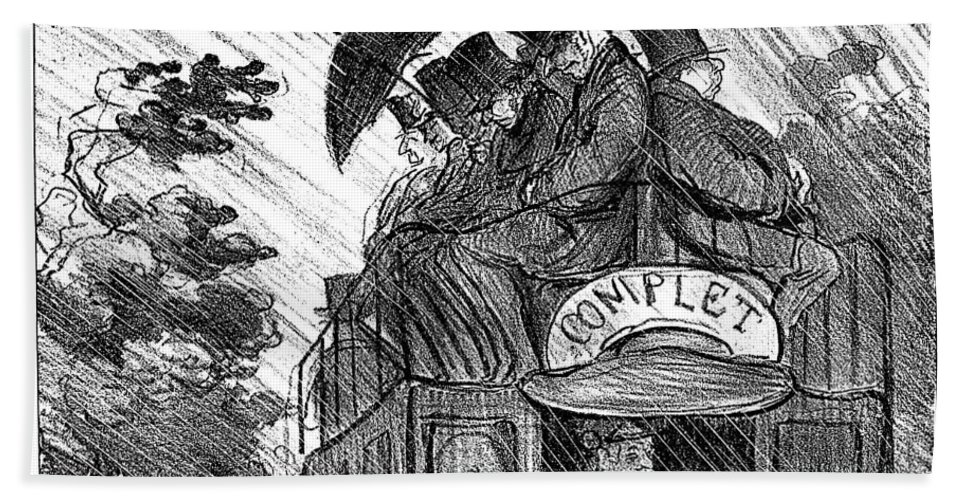 1856 Bath Sheet featuring the photograph Bus, 1856 by Honore Daumier
