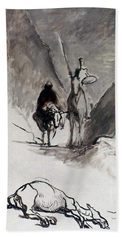 1867 Bath Sheet featuring the photograph Daumier: Don Quixote by Granger