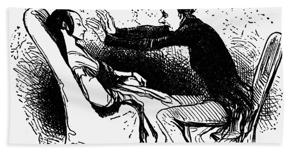 19th Century Bath Sheet featuring the photograph Daumier: The Hypnotist by Granger