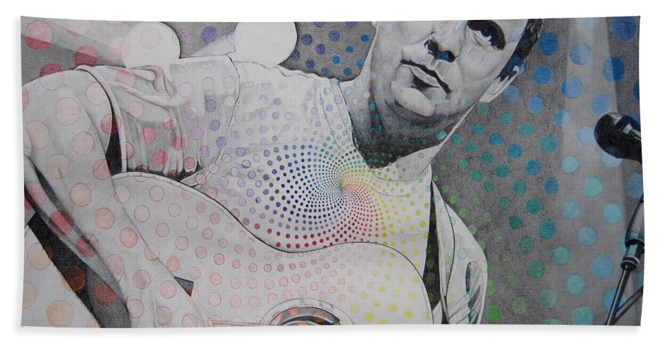Dave Matthews Bath Towel featuring the drawing Dave Matthews All The Colors Mix Together by Joshua Morton