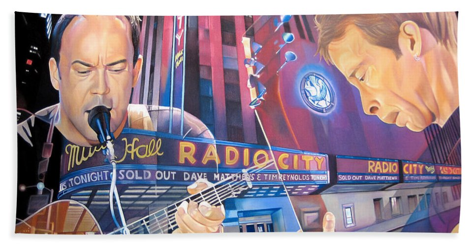 Dave Matthews Hand Towel featuring the drawing Dave Matthews And Tim Reynolds At Radio City by Joshua Morton