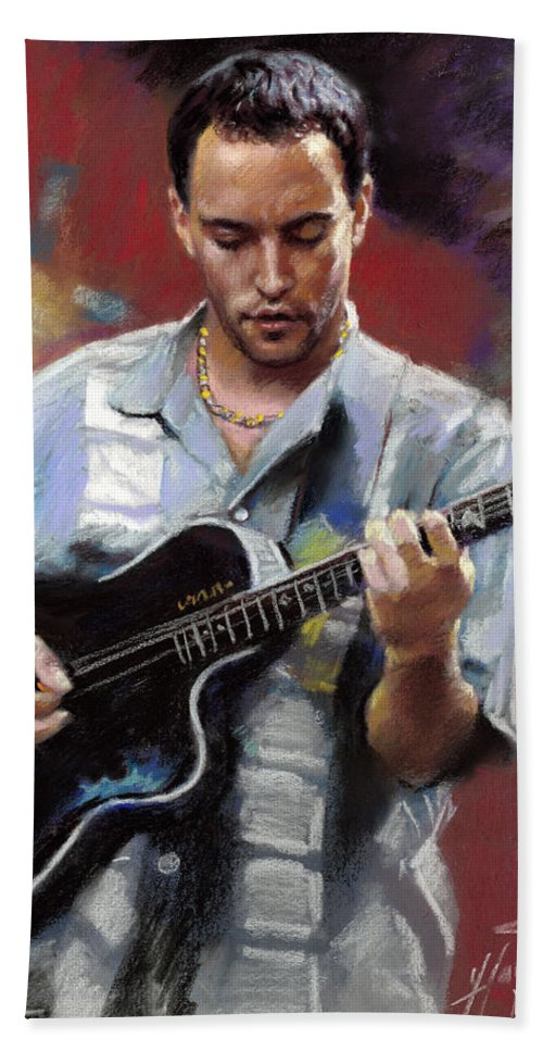 Dave Matthews Hand Towel featuring the drawing Dave Matthews by Viola El