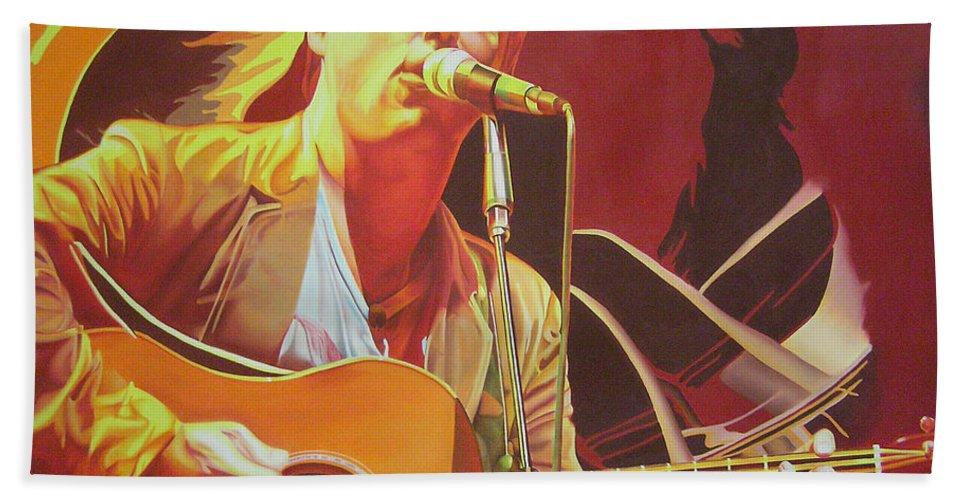 Dave Matthews Bath Sheet featuring the painting Dave Matthews At Vegoose by Joshua Morton