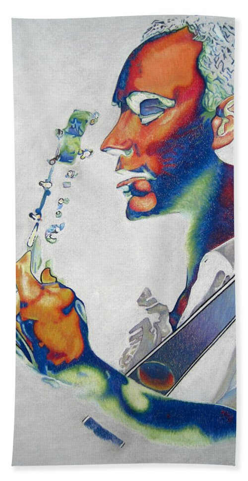 Dave Matthews Bath Towel featuring the drawing Dave Matthews by Joshua Morton