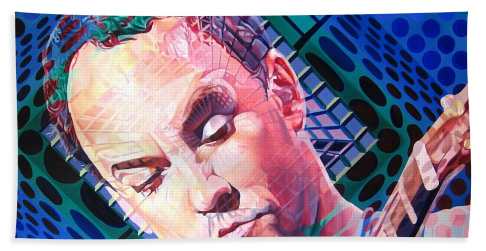 Dave Matthews Bath Towel featuring the painting Dave Matthews Open Up My Head by Joshua Morton