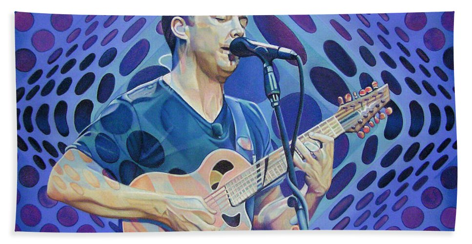 Dave Matthews Hand Towel featuring the drawing Dave Matthews-op Art Series by Joshua Morton