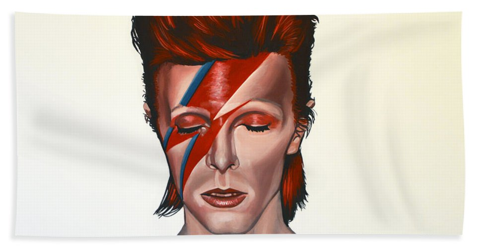 David Bowie Bath Towel featuring the painting David Bowie Aladdin Sane by Paul Meijering