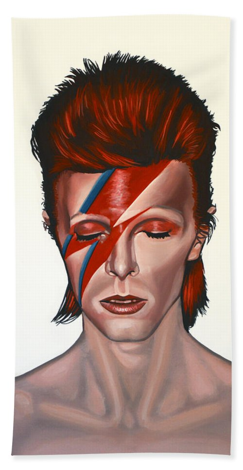 David Bowie Hand Towel featuring the painting David Bowie Aladdin Sane by Paul Meijering
