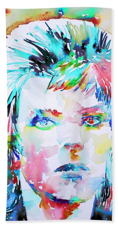 David Bath Sheet featuring the painting David Bowie - Watercolor Portrait.6 by Fabrizio Cassetta
