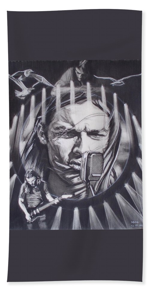 Charcoal On Paper Bath Towel featuring the drawing David Gilmour Of Pink Floyd - Echoes by Sean Connolly