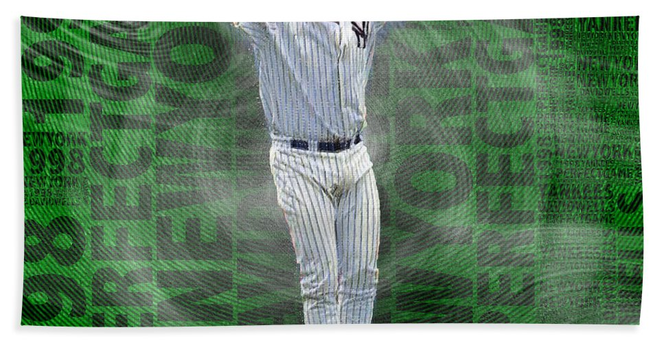 David Wells Hand Towel featuring the painting David Wells Yankees Perfect Game 1998 by Tony Rubino