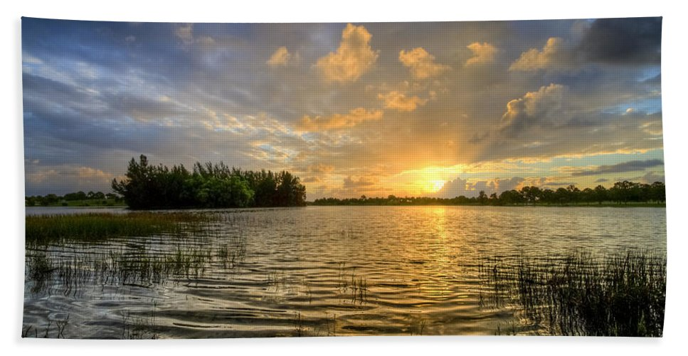 Clouds Hand Towel featuring the photograph Dawn At The Lake by Debra and Dave Vanderlaan