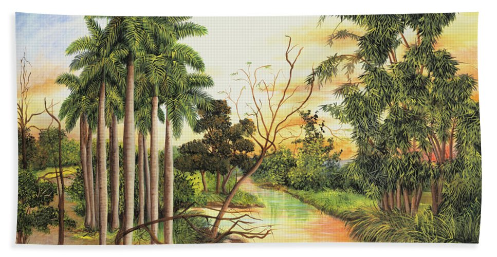 Wood Bath Sheet featuring the painting Dawn by Dominica Alcantara