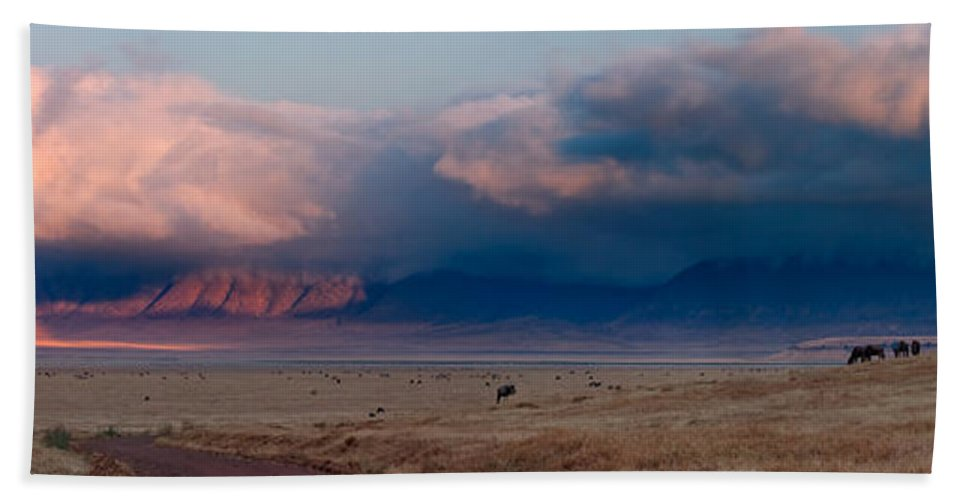 3scape Hand Towel featuring the photograph Dawn In Ngorongoro Crater by Adam Romanowicz