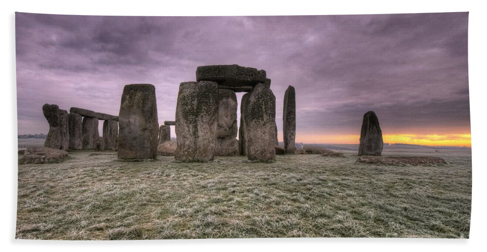 Stonehenge Hand Towel featuring the photograph Dawn Over The Stones by Rob Hawkins