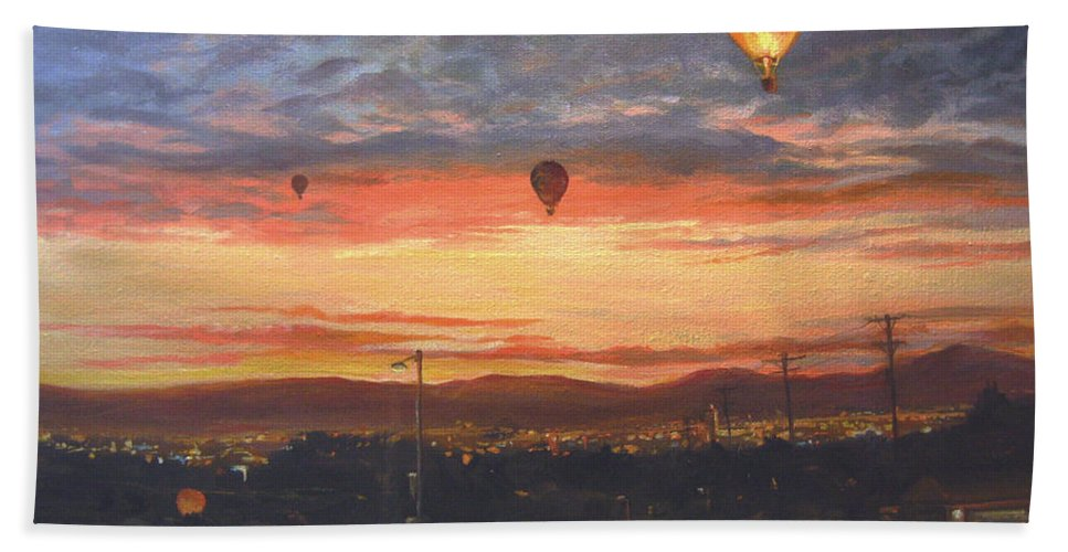 Nature Bath Sheet featuring the painting Dawn Patrol by Donna Tucker