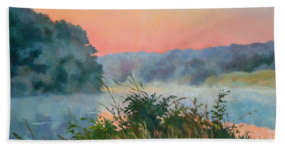 Impressionism Bath Sheet featuring the painting Dawn Reflection by Keith Burgess