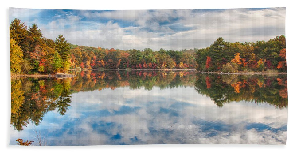 Autumn Foliage Bath Sheet featuring the photograph Dawn Reflection Of Fall Colors by Jeff Folger