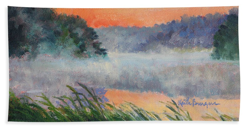 Impressionism Hand Towel featuring the painting Dawn Reflection Study by Keith Burgess