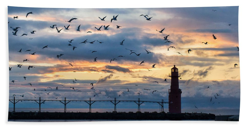 Lighthouse Hand Towel featuring the photograph Dawn's Early Flight by Bill Pevlor
