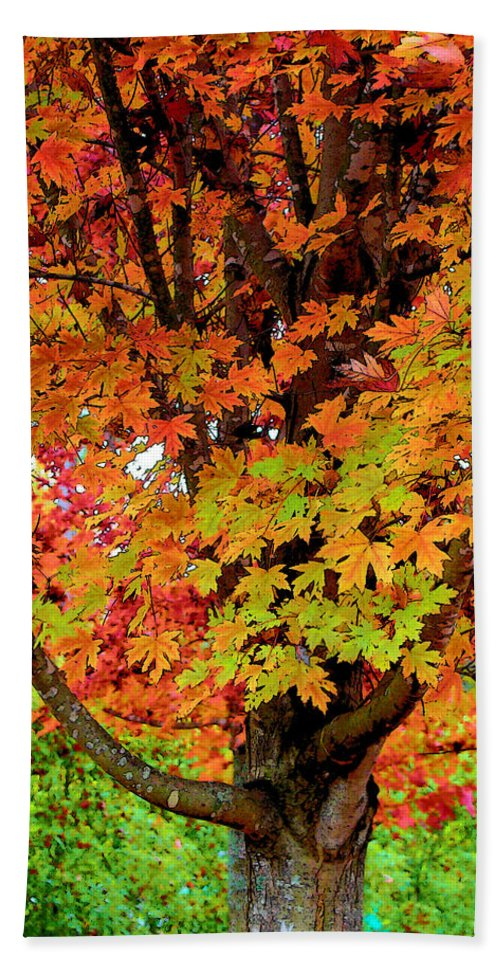 Fine Art Bath Sheet featuring the photograph Day Glo Autumn by Rodney Lee Williams