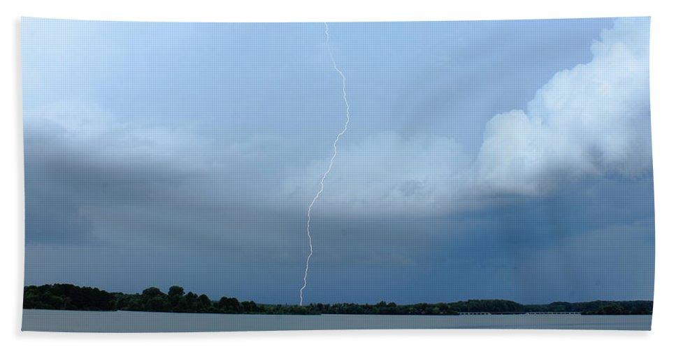Cloud Bath Sheet featuring the photograph Day Lightning by Reid Callaway