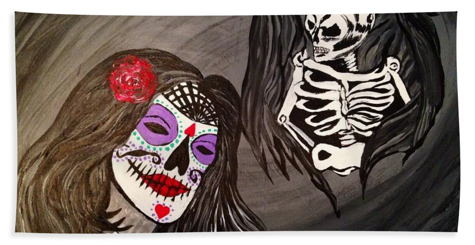 Surreal Bath Sheet featuring the painting Day Of The Dead Good Vs Evil by Melissa Darnell Glowacki