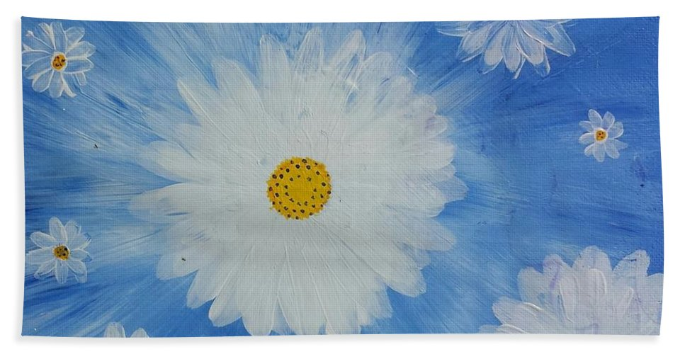 Daisy Hand Towel featuring the painting Daydreamin Daisy by Iamthebetty Tbone