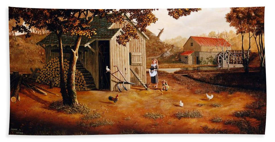 Farm Hand Towel featuring the painting Days Of Discovery by Duane R Probus