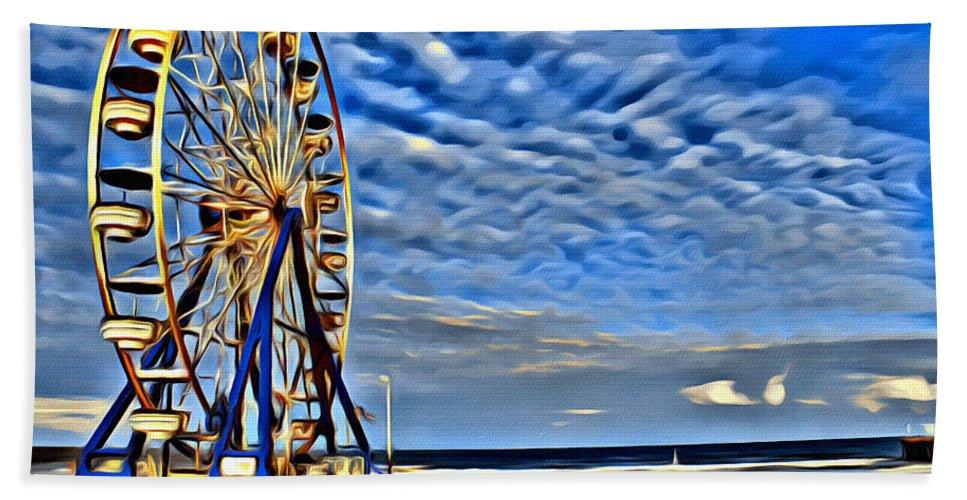 Ferris Wheel Dayton Beach Florida Sky Beach Ocean Hand Towel featuring the photograph Daytona Ferris Wheel by Alice Gipson