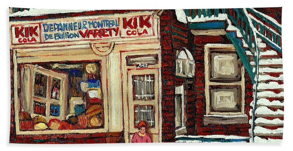 Montreal Hand Towel featuring the painting De Bullion Street Depanneur Kik Cola Montreal Streetscenes by Carole Spandau