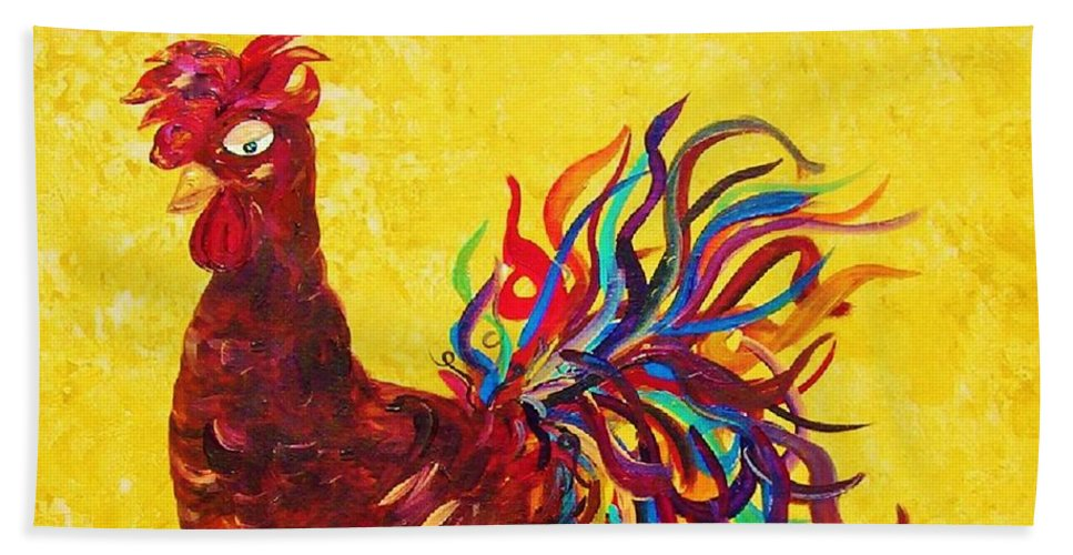 Rooster Bath Sheet featuring the painting De Colores Rooster by Eloise Schneider