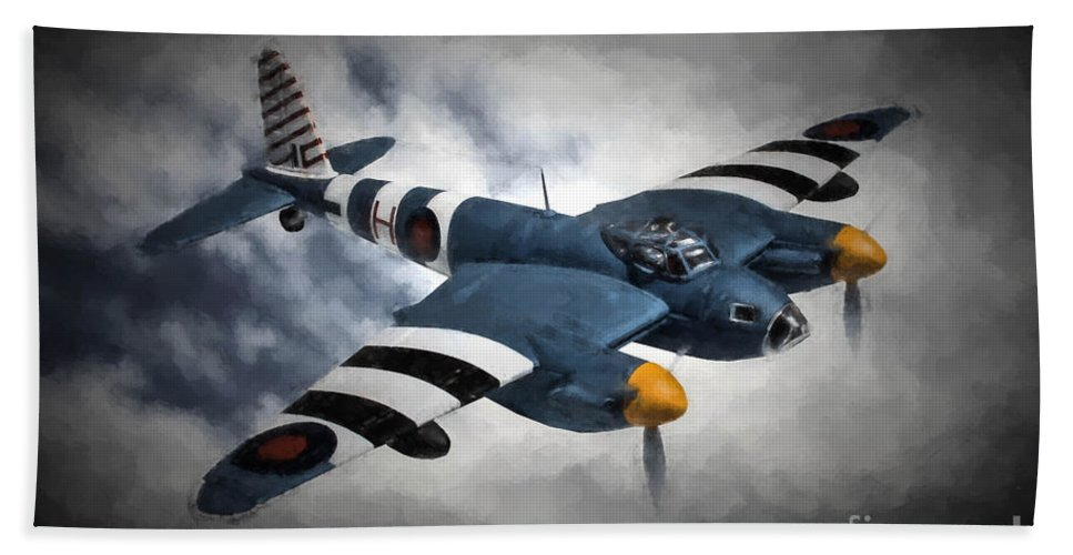 De Havilland Mosquito Pr.mk Xvi Bath Sheet featuring the digital art de Havilland Mosquito PR.Mk XVI by Tommy Anderson