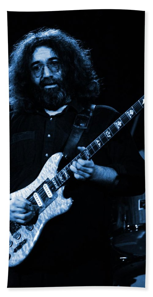 Jerry Garcia Hand Towel featuring the photograph Dead #2 Crop B In Blue by Ben Upham