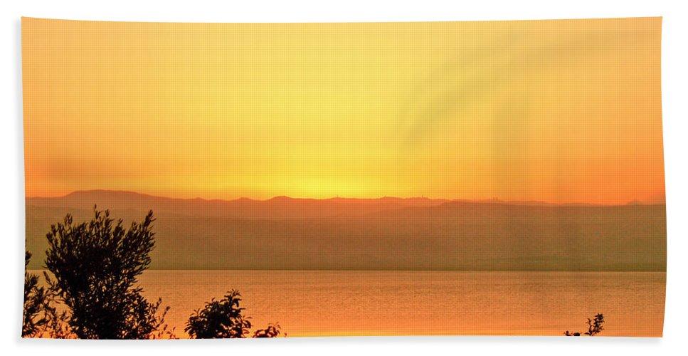 Dead Sea Bath Sheet featuring the photograph Dead Sea Sunset by Conor O'Brien