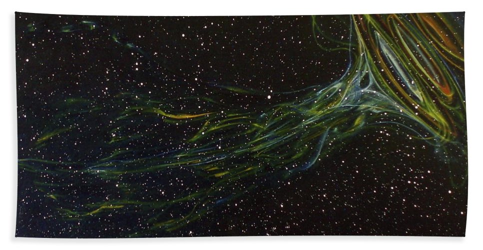 Abstract Bath Sheet featuring the painting Death Throes by Sean Connolly