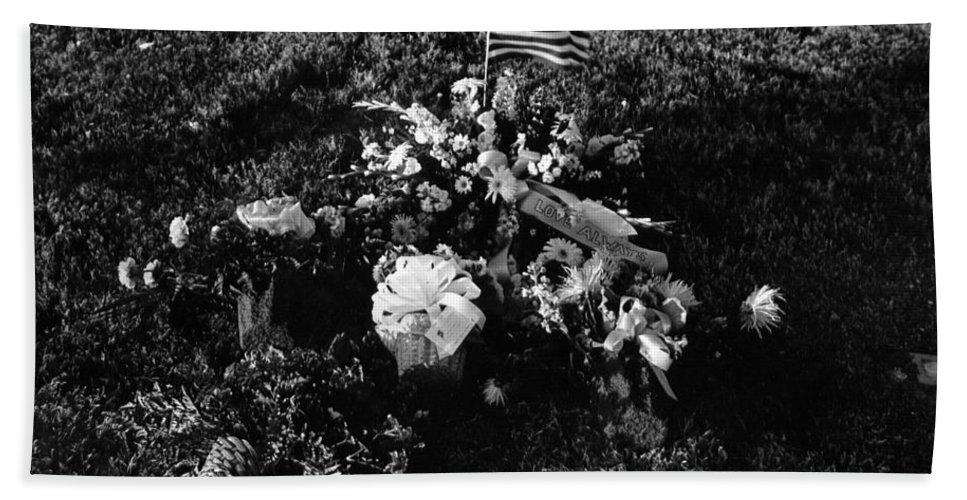 Debbie C's Grave American Flag Evergreen Cemetery Tucson Arizona 1991 Black And White Bath Sheet featuring the photograph Debbie C's Grave American Flag Evergreen Cemetery Tucson Arizona 1991 by David Lee Guss