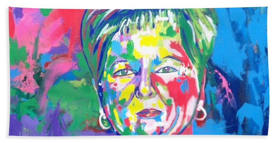 Portrait Bath Sheet featuring the painting Deborah Lybrand by Janice Westfall