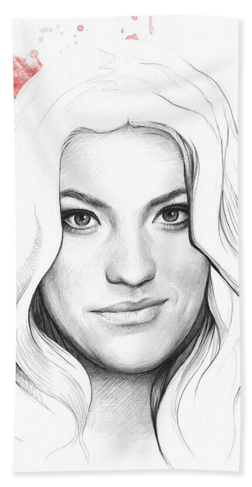 Dexter Bath Towel featuring the drawing Debra Morgan - Dexter by Olga Shvartsur
