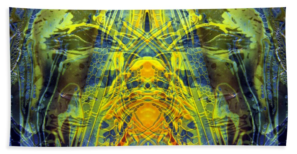 Surrealism Bath Sheet featuring the digital art Decalcomaniac Intersection 1 by Otto Rapp