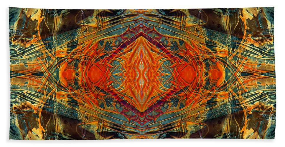 Surrealism Bath Sheet featuring the digital art Decalcomaniac Intersection 2 by Otto Rapp