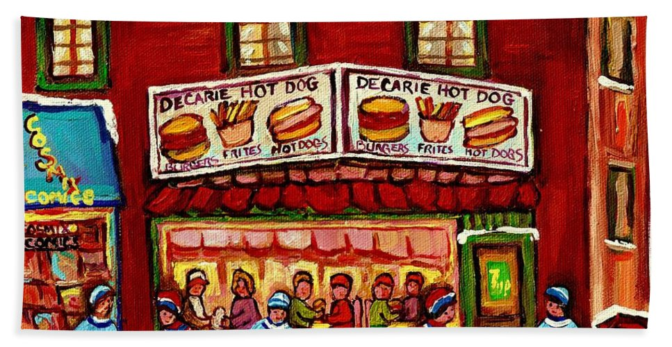 Montreal Bath Sheet featuring the painting Decarie Hot Dog Restaurant Cosmix Comic Store Montreal Paintings Hockey Art Winter Scenes C Spandau by Carole Spandau