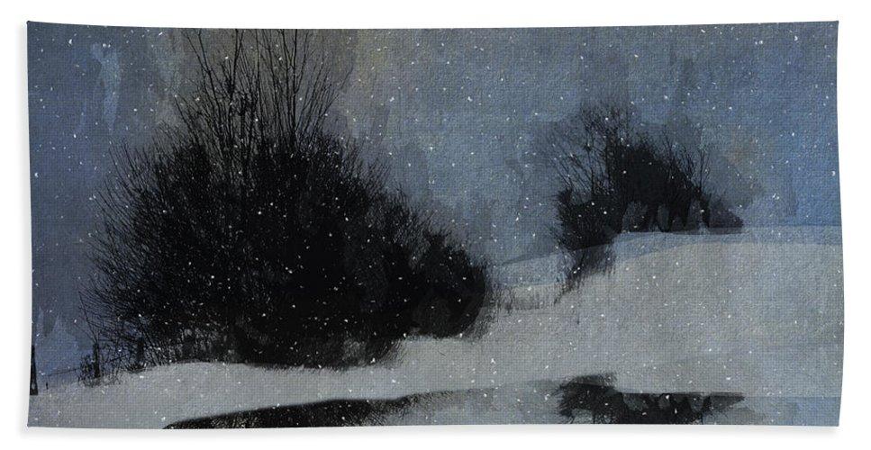 Ron Jones Bath Sheet featuring the digital art December Dusk by Ron Jones
