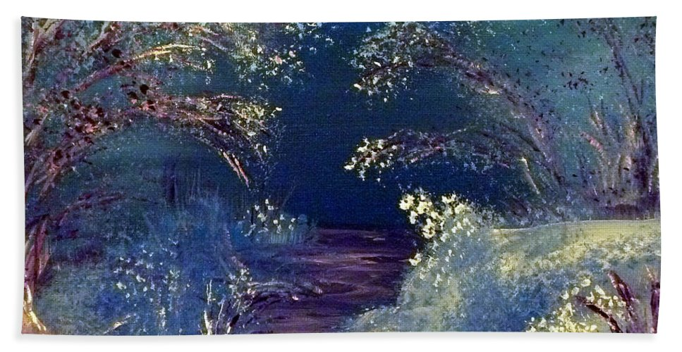 Winter Hand Towel featuring the painting December Night by Alys Caviness-Gober