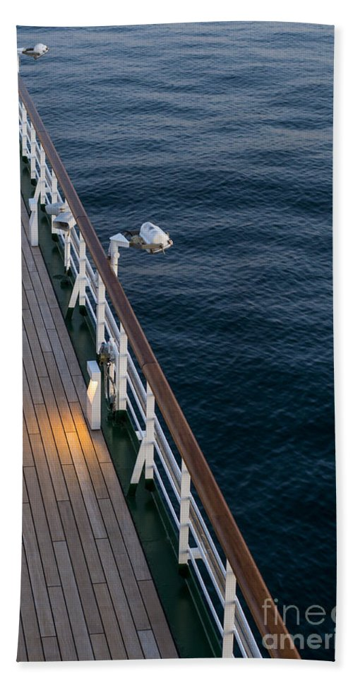 Deck Sea Hand Towel featuring the photograph Deck Sea by Anne Gilbert