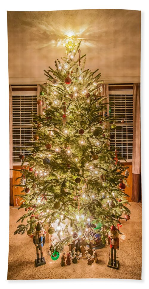 christmas Decoration Bath Sheet featuring the photograph Decorated Christmas Tree by Alex Grichenko