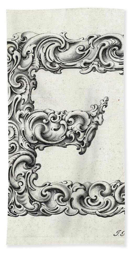 E Bath Sheet featuring the photograph Decorative Letter Type E 1650 by Georgia Fowler
