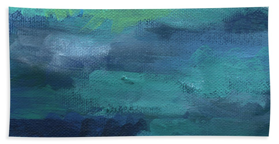Blue Bath Towel featuring the painting Tranquility- abstract painting by Linda Woods