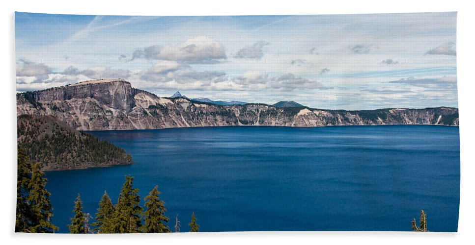 Crater Bath Sheet featuring the photograph Deep Blue Crater Lake by Steve Pfaffle